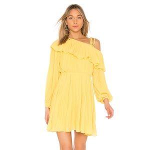 Endless Rose Pleated one shoulder dress in Lemon